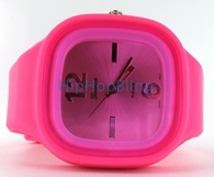 Pink Jelly Band Watch Square Face
