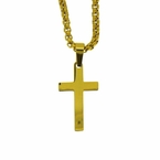 Plain Gold Steel Cross and Chain Set