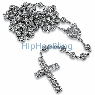 Platinum Style Totally Iced Out Rosary Chain