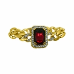 Polished Cuban Link Red Gem Bling Bling Bracelet