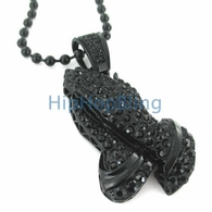 SALE Praying Hands Black Iced Out Pendant Hip hop Chain