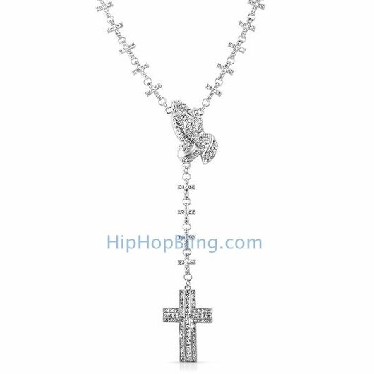 Praying Hands & Cross Fully Iced Out Cross Link Rosary Necklace
