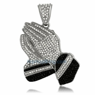 Praying Hands White & Black Iced Out Pendant Rhodium