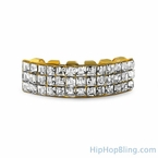 Princess Cut Iced Out Custom Gold Grillz Bottom