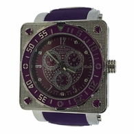 Purple Circle in Square Fashion Hip Hop Watch
