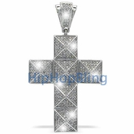 Pyramid Cross Micro Pave Iced Out Pendant .925 Silver MPP53