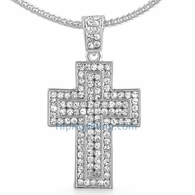 Quad Iced Out Cross Pendant & Chain Small