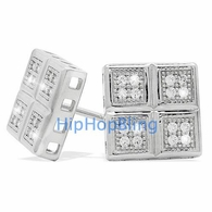 Quattro Box Ultra Micro Pave CZ Earrings .925 Sterling Silver