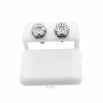 Real Diamond Cluster Earrings .925 Silver Fanook