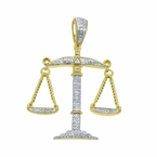 Real Diamond Hanging Scale Pendant .925 Silver Gold