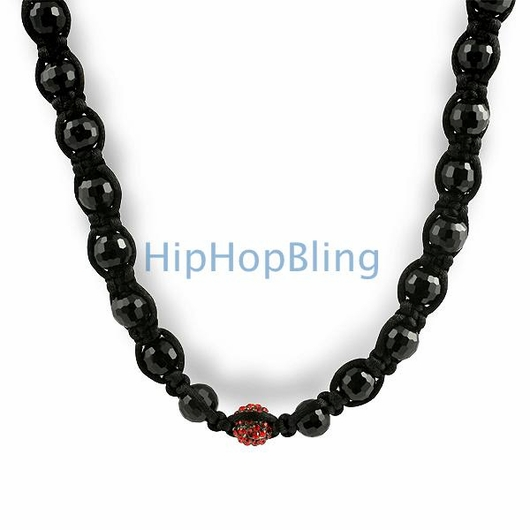 Red 1 Disco Ball Hip Hop Necklace