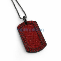 Red Blizzard Bling Bling Dog Tag & Chain