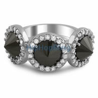 Reverse Black CZ Diamond Fashion Pave Ladies Ring