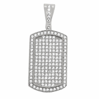 Rhodium Small CZ Dogtag .925 Sterling Silver