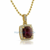 Rick Ross Style Lab Ruby Pendant Gold