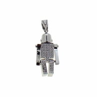 Robot Movable CZ Pendant .925 Sterling Silver