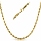 Rope IP Gold Stainless Steel Chain Necklace 4MM