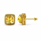 Rose Cut Canary CZ Halo Gold Bling Bling Earrings