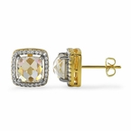 Rose Cut CZ Gold Halo Bling Bling Earrings