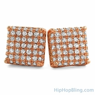 Rose Gold 3D Square CZ Iced Out Earrings