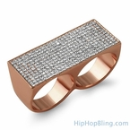 Rose Gold Bling Bling 2 Finger Ring