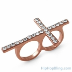 Rose Gold Bling Bling Cross 2 Finger Ring