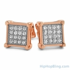 Rose Gold Box CZ Micro Pave Bling Bling Earrings