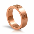 Rose Gold Button Ring High Polished