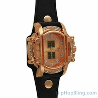 Rose Gold Caged Black Leather Watch
