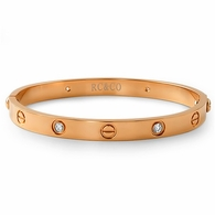 Rose Gold Classic CZ & Button Bangle with Screwdriver