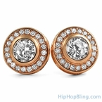 Rose Gold CZ Solitaire Circle Bling Bling Earrings