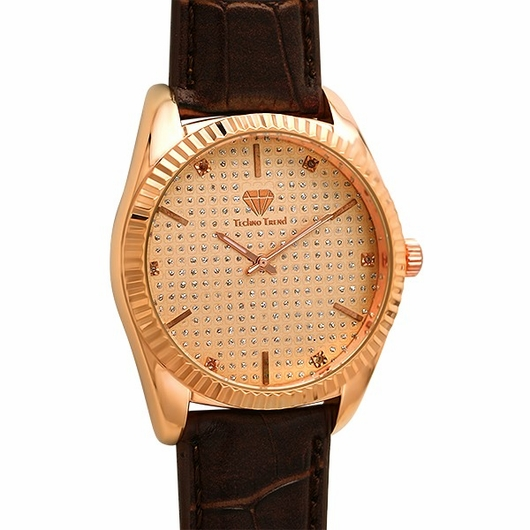Rose Gold Diamond Dress Watch Brown Leather
