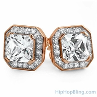 Rose Gold Iced Princess CZ Micro Pave Earrings