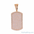 Rose Gold Micro Pave Dog Tag .925 Silver
