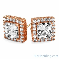 Rose Gold Princess Iced Border CZ Earrings