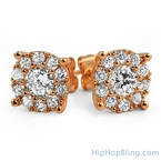 Rose Gold Solitaire Cluster CZ Iced Out Earrings