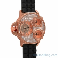 Rose Gold Triple Timezone Bling Rubber Watch
