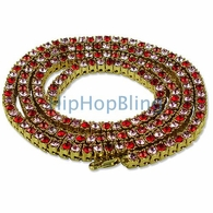 Rose Red & Pink Stones Gold 1 Row Bling  Bling Necklace