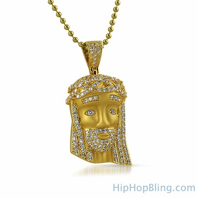 Satin Finish Mini Gold Jesus Pendant