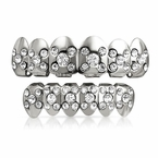 Silver Grillz Set X Ice Pattern Top Bottom