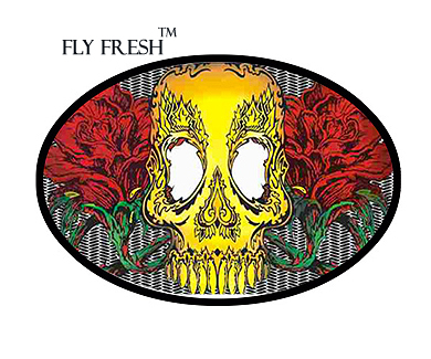 Skull and Roses Fly Fresh � Tattoo Belt Buckle TBU-11C