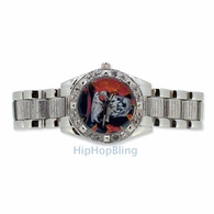 Skull Face Silver Tone Hip Hop Watch