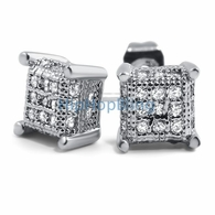 Small 3D Cube Micro Pave CZ Earrings