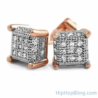 Small 3D Cube Rose Gold CZ Micro Pave Bling Earrings