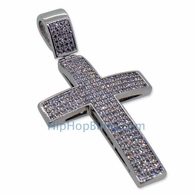 Small 4 Row Bling Bling Cross CZ Micro Pave