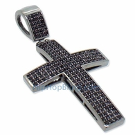 Small Black 4 Row Bling Bling Cross CZ Micro Pave