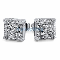 Small Cube CZ Micro Pave Bling Earrings