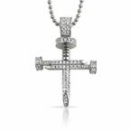 Small CZ 3D Rhodium Nail Cross Bling Bling Pendant