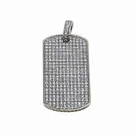 Small Dogtag Micro Pave Pendant .925 Sterling Silver