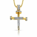Small Gold CZ 3D Nail Cross Bling Bling Pendant